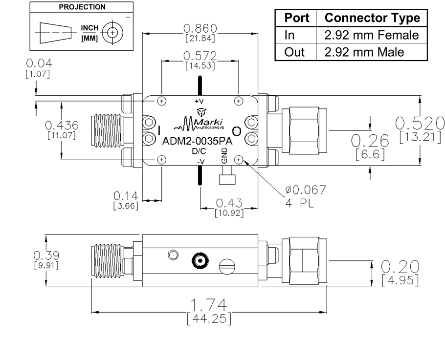 ADM2-0035PA Amplifier Package Diagram