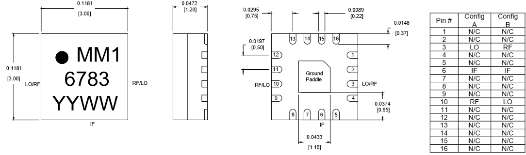 MM1-0222HSM Mixer Package Diagram