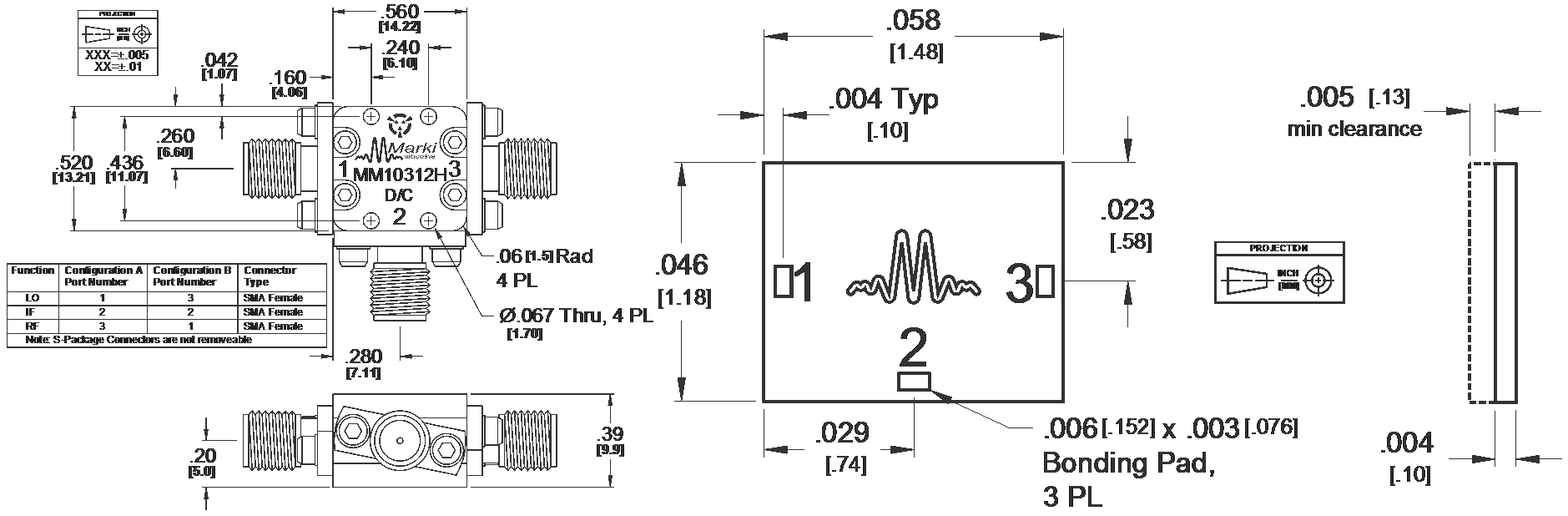 MM1-0312H Mixer Package Diagram