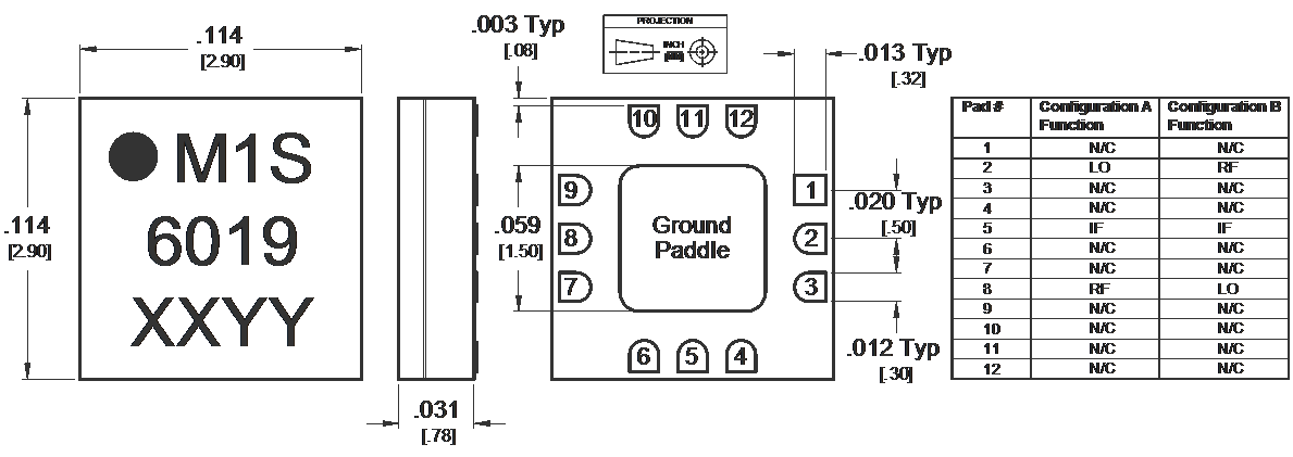 MM1-0312SSM Mixer Package Diagram