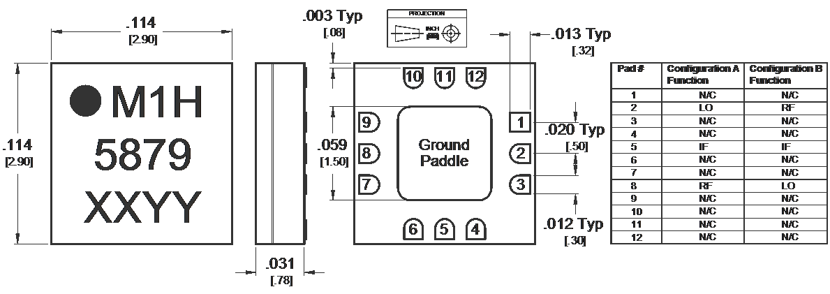 MM1-0320HSM Mixer Package Diagram