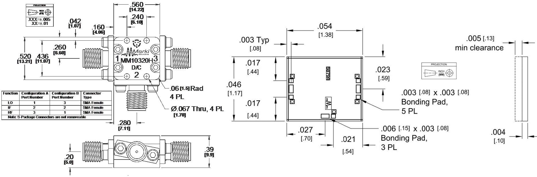 MM1-0320H Mixer Package Diagram