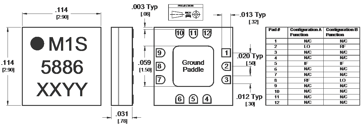 MM1-0424SSM Mixer Package Diagram
