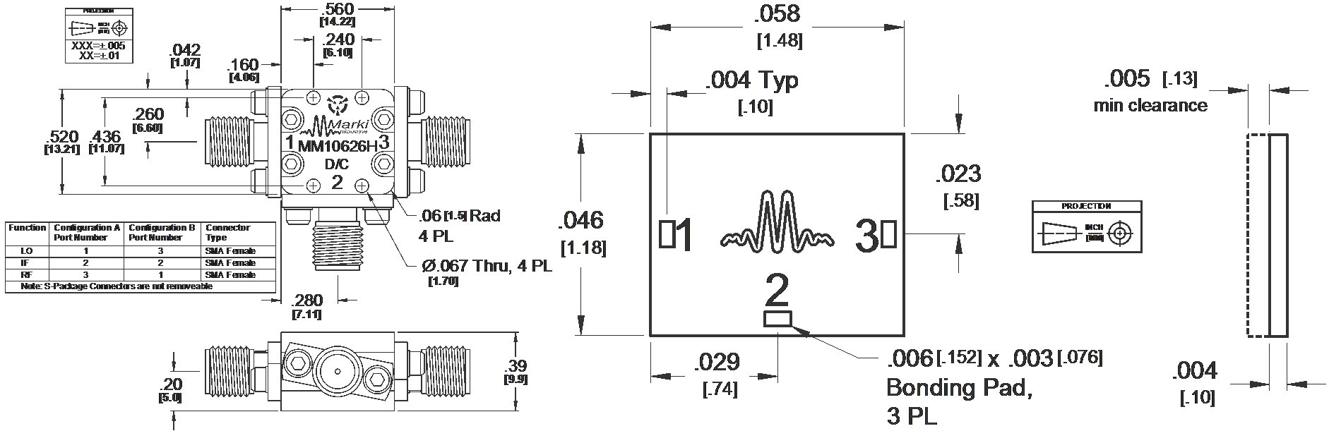 MM1-0626H Mixer Package Diagram