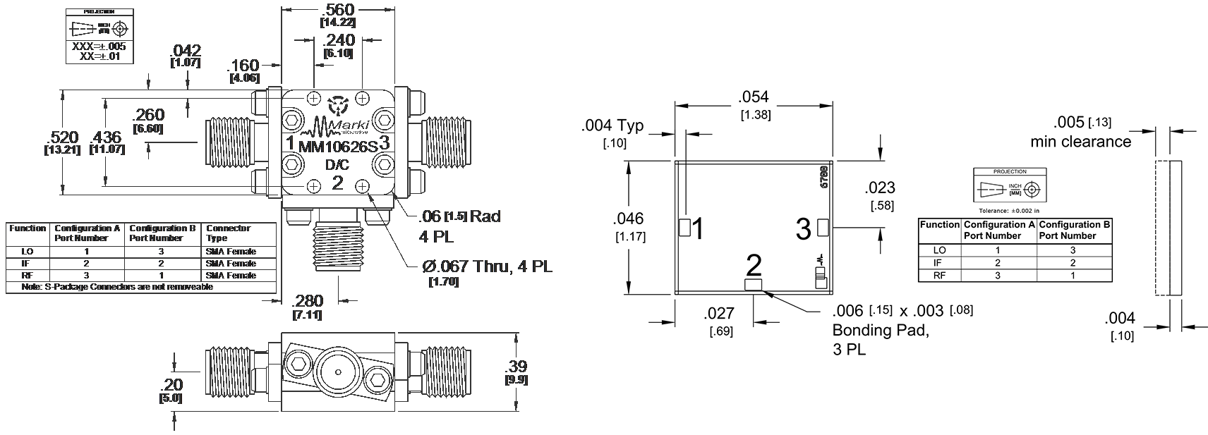 MM1-0626S Mixer Package Diagram