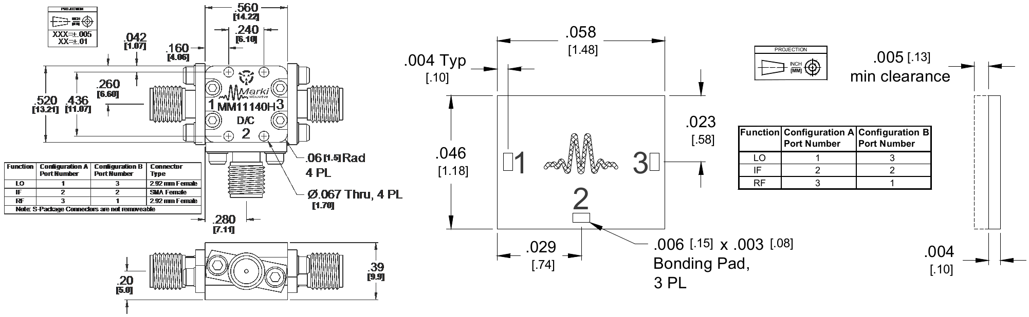 MM1-1140H Mixer Package Diagram