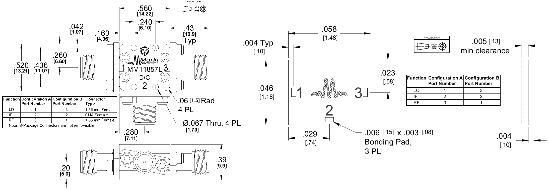 MM1-1857L Mixer Package Diagram
