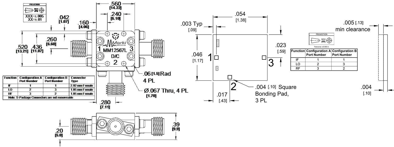 MM1-2567L Mixer Package Diagram