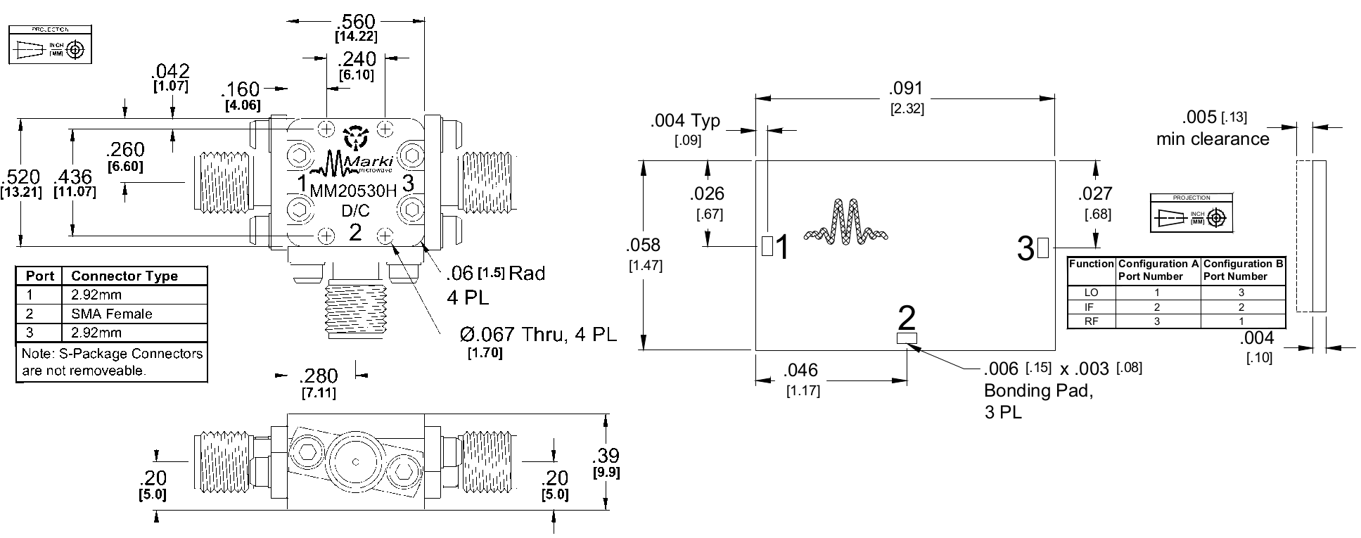 MM2-0530H Mixer Package Diagram