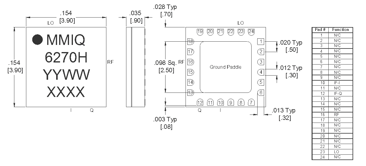 MMIQ-0626HSM Mixer Package Diagram
