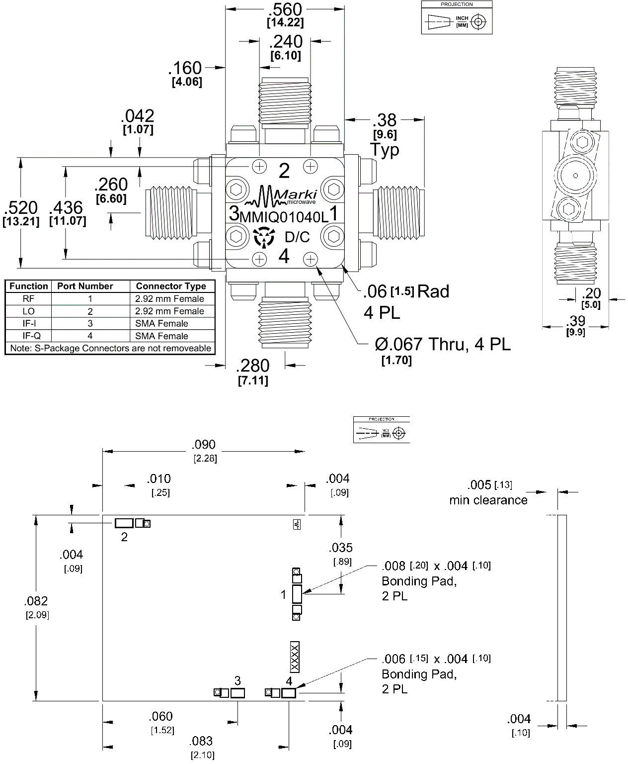 MMIQ-1040L Mixer Package Diagram