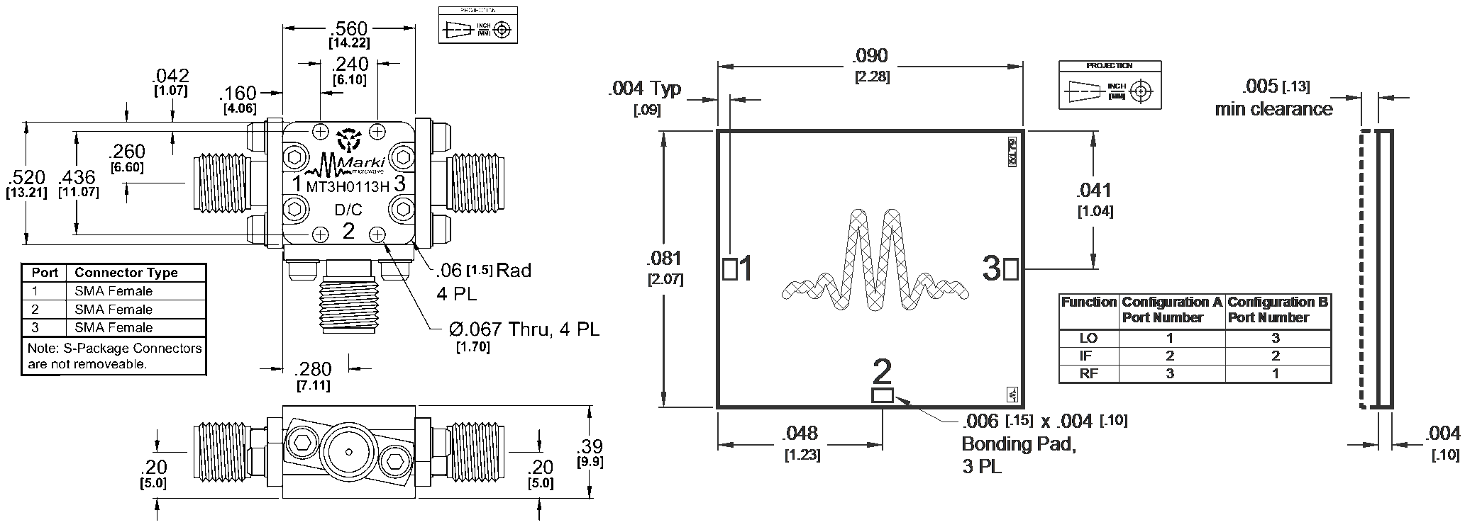 MT3H-0113H Mixer Package Diagram
