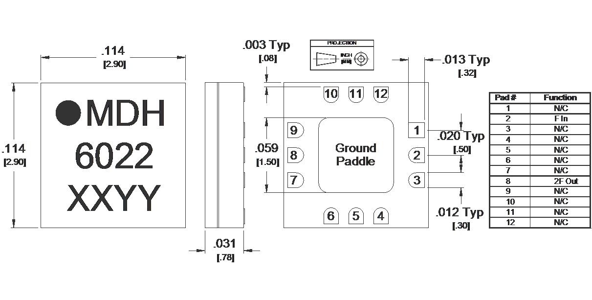MMD-1030HSM Multiplier Package Diagram