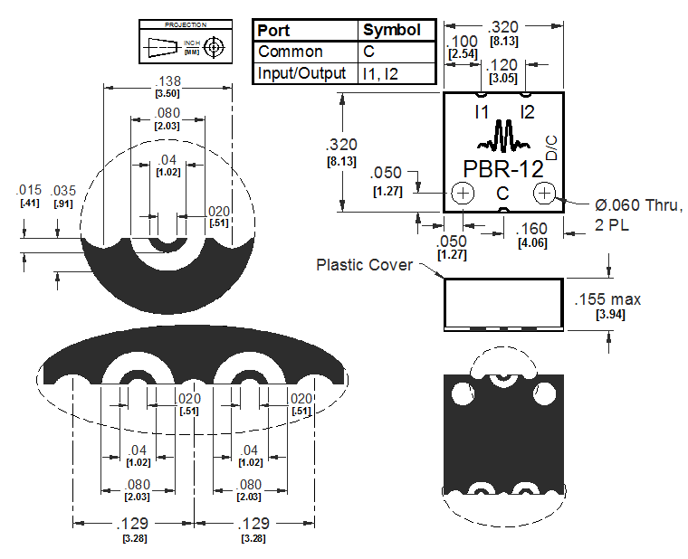 PBR-0012SMG Power Divider Package Diagram