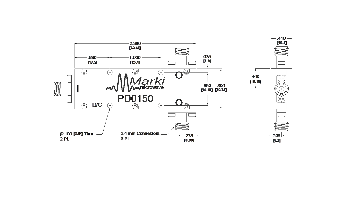 PD-0150 Power Divider Package Diagram